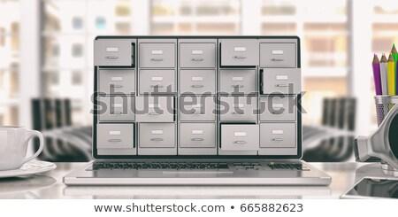 Elektronikus adat akta archívum mappák laptop Stock fotó © AnatolyM