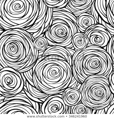 white seamless pattern outline stylized roses abstract floral background doodle hand drawn line a stock photo © essl