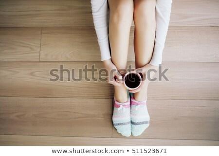 vicces · csíkos · zokni · piros · izolált · fehér - stock fotó © adrenalina