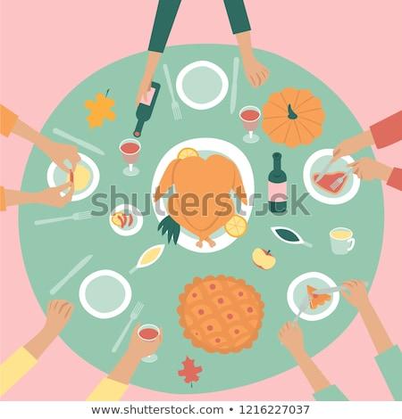 Foto stock: Criança · mesa · de · jantar · mão · vetor · comida