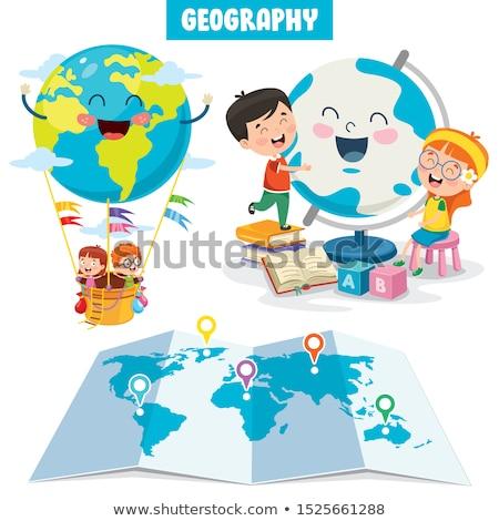 aardrijkskunde · leraar · tonen · iets · studenten · wereldkaart - stockfoto © lenm