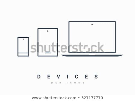 minimalistic linear icons for mobile devices set stock photo © robuart
