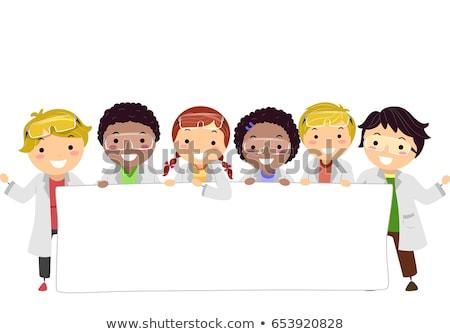 Gyerekek laborköpeny szalag illusztráció visel labor Stock fotó © lenm