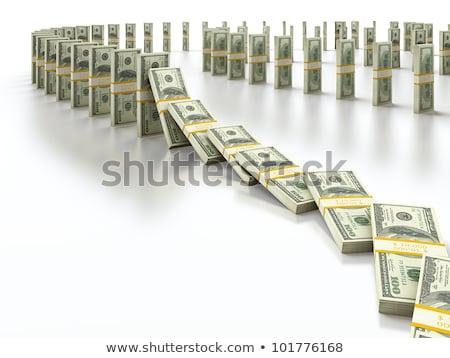 Pénz dominó hatás illusztráció zuhan lefelé Stock fotó © lenm