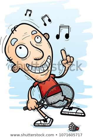 Cartoon Senior Badminton Player Dancing Stock photo © cthoman
