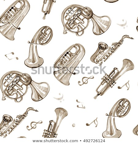 Copper music notes seamless pattern background Stock photo © cienpies
