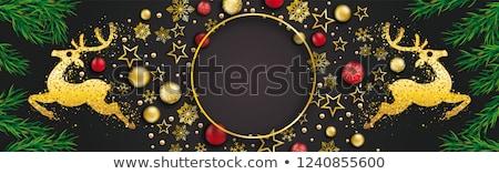 natal · escuro · dourado · saudação · bandeira · ilustração - foto stock © limbi007