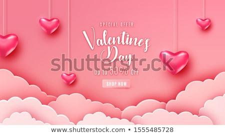 sevgililer · günü · tebrik · dizayn · kalpler · çerçeve · kalp - stok fotoğraf © sarts