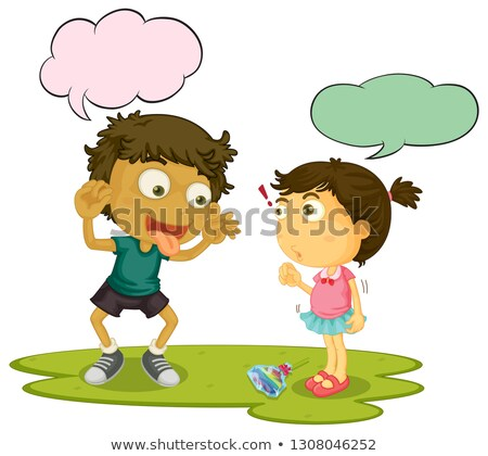 Bully children speeach balloon Stock photo © colematt