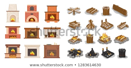 Fireplace Home Interior Burning Wood Icons Set Stock photo © robuart