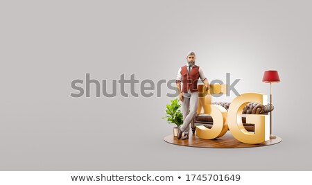 3d man standing with 5g Stock photo © ribah