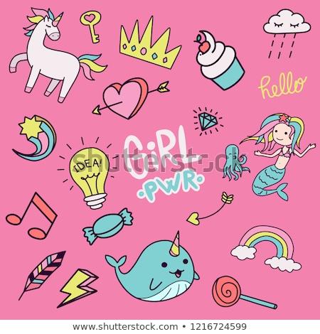 Magie stick cute cartoon regenboog hemel Stockfoto © zsooofija