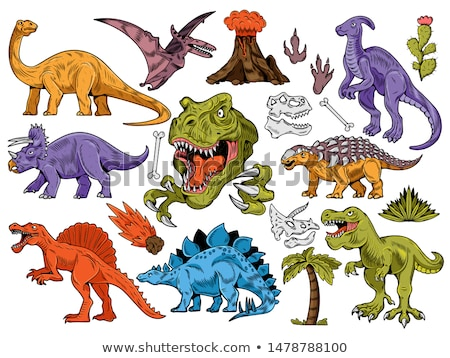 Conjunto dinossauro adesivo ilustração sorrir projeto Foto stock © colematt