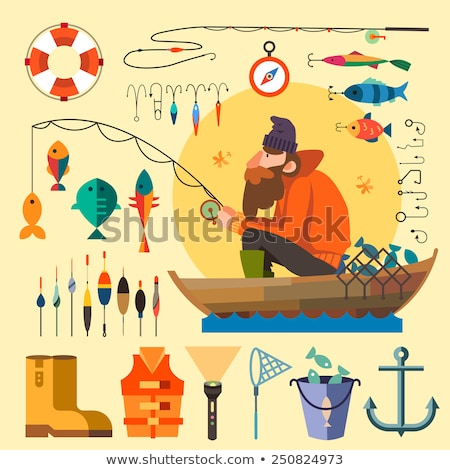 Male Fishing in Lake, Vector Isolated Fisher, Rod Foto stock © robuart