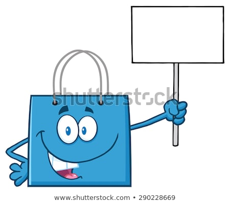 blue shopping bag cartoon character holding up a blank sign stock photo © hittoon