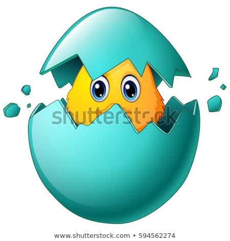 Boldog kék madár rajzfilmfigura tojás szívek Stock fotó © hittoon