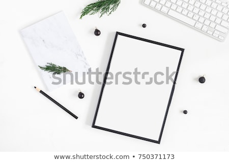 Black photo frame on marble, flatlay Stock photo © Anneleven