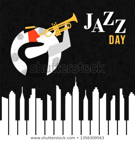 Stock photo: Jazz Day poster of piano keys as city skyline