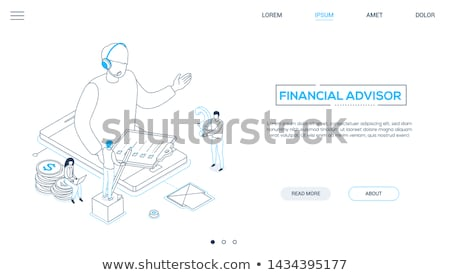 Technische ondersteuning lijn ontwerp stijl isometrische web Stockfoto © Decorwithme