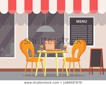 Pizza huis pizzeria tabel koffiekopjes vector Stockfoto © robuart
