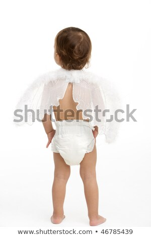 Hátulnézet kisgyerek visel pelenka angyalszárnyak baba Stock fotó © monkey_business