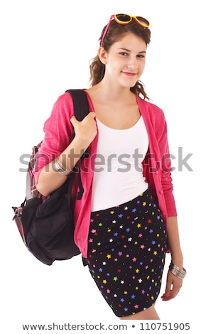 Girl in Pink Sweater, Bag Over Shoulder and Book Stock photo © robuart
