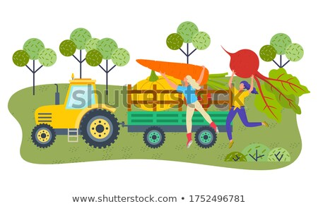 farmer pushing cart loaded with vegetables vector stock photo © robuart