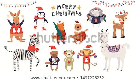 christmas monkey cartoon character in santa hat stock photo © krisdog