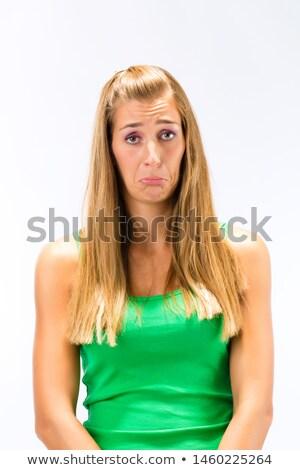 отчаяние зеленый изолированный белый женщину Сток-фото © Kzenon