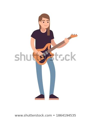 Cartoon выразительный гитарист изолированный иллюстрация играет Сток-фото © tiKkraf69