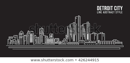 Stockfoto: Detroit · stadsgezicht · Michigan · panorama · schets · skyline