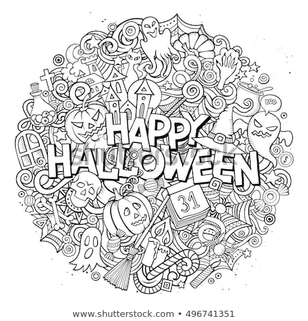 Stockfoto: Cartoon · cute · halloween · opschrift · grappig