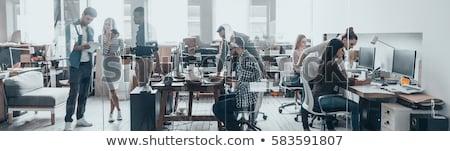 gelukkig · vrouw · tablet · creatieve · team · werken - stockfoto © dolgachov