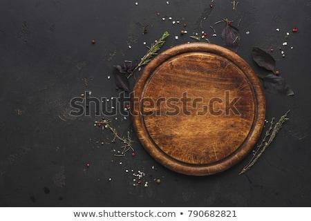 üres · tányér · törölköző · fa · asztal · felülnézet · copy · space - stock fotó © karandaev
