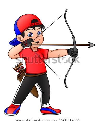 лучник мальчика Cartoon изолированный белый стороны Сток-фото © cidepix