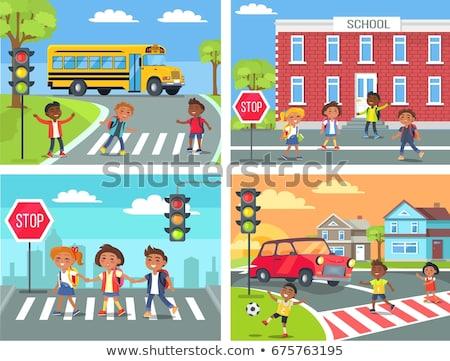Schoolkinderen weg voetganger vector kinderen straat Stockfoto © robuart