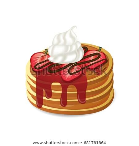 Flapjacks With Strawberries and Cream Stock photo © jamdesign
