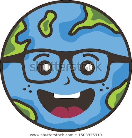 Kurtarmak dünya gezegeni kampanya vektör sanat gülümseme Stok fotoğraf © vector1st