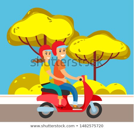 Couple on Moped or Scooter, Suburban Street Road Stock photo © robuart