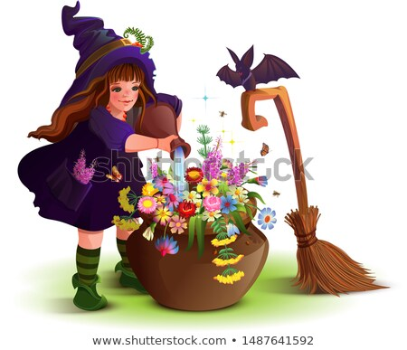 happy halloween witch girl cooks magic flower potion stock photo © orensila