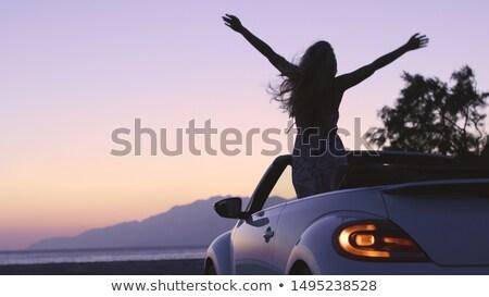 Bastante blanco cabriolé coche Foto stock © boggy