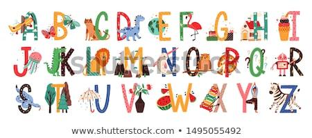 cartoon alphabet set with cute animal characters Stock photo © izakowski