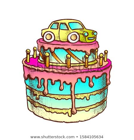 Születésnapi torta díszített autó retro vektor fiú Stock fotó © pikepicture