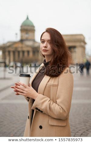 Vrouw model straat grijs jas lang Stockfoto © ElenaBatkova