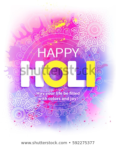 happy holi wishes card with color splashes Stock photo © SArts