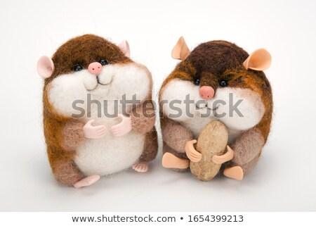 Twee handgemaakt kunstmatig speelgoed pinda's witte Stockfoto © mizar_21984