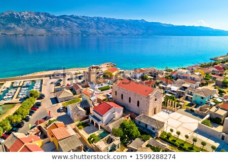 Razanac. Historic town of Razanac and Velebit channel aerial vie Stock photo © xbrchx