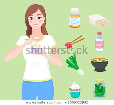 ételek gyűjtemény ételek edények egészséges emésztés Stock fotó © robuart