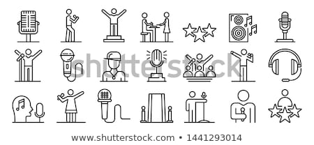 Microphone And Hosts Icon Outline Illustration Stock photo © pikepicture