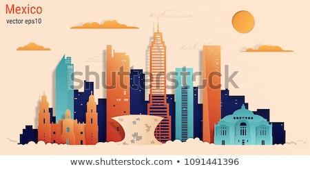 Mexico skyline kleur gebouwen blauwe hemel Stockfoto © ShustrikS